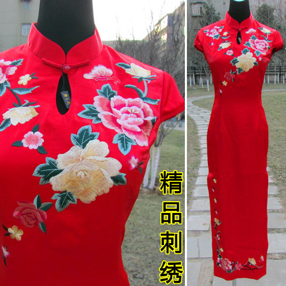 2013品牌绣花旗袍复古改良新娘旗袍敬酒服红色刺绣牡丹花结婚礼服