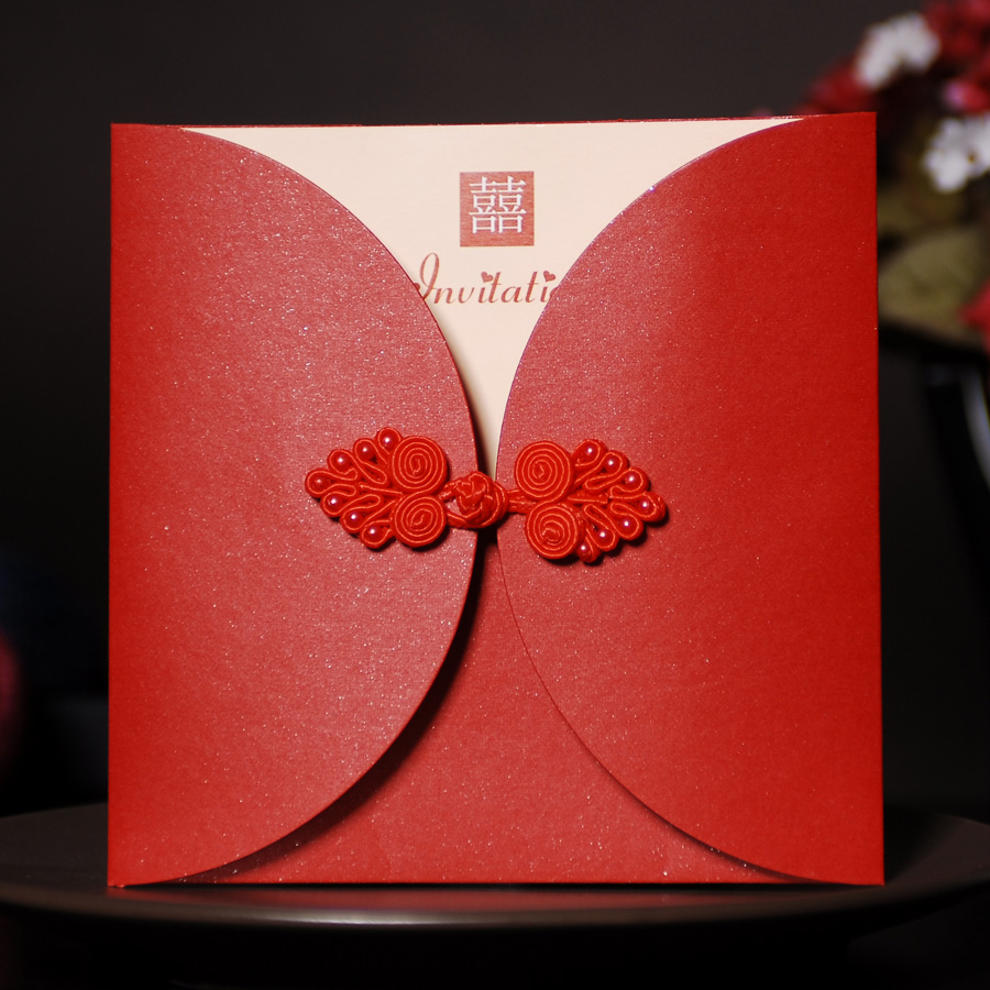 创意结婚请柬 红色中式婚礼请帖 个性定制照片喜帖 中国结盘扣