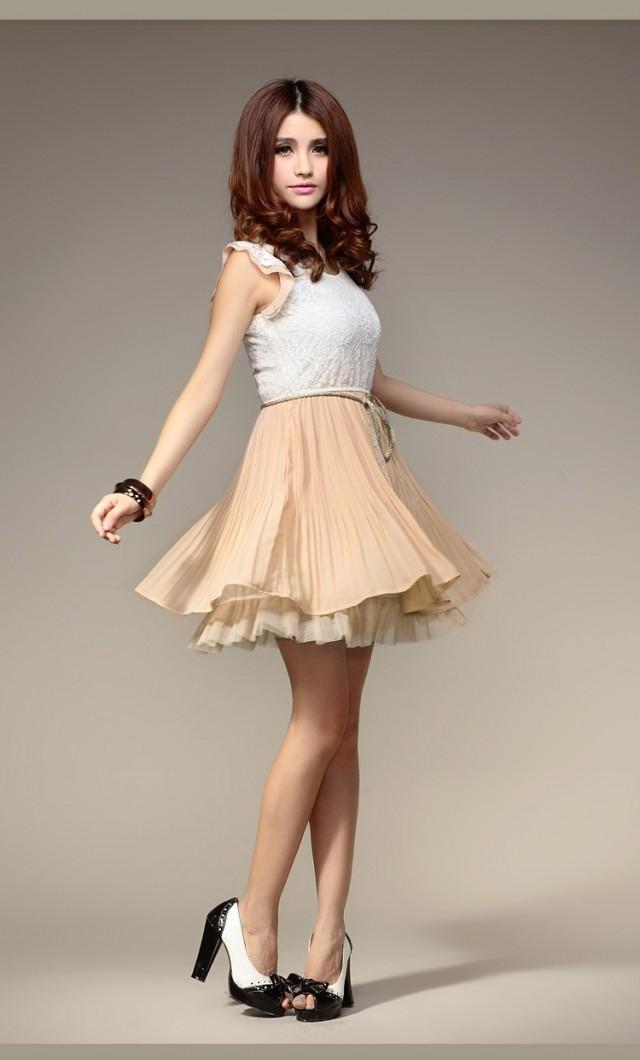 夏装新款蕾丝连衣裙女装圆领无袖气质小礼服雪纺裙