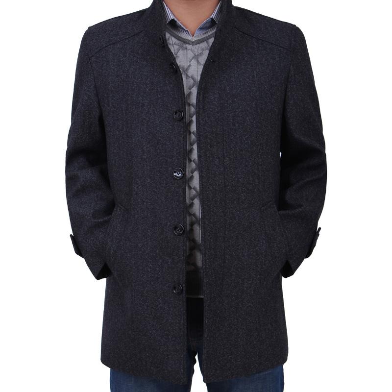 中年男士風衣中長款秋裝羊毛呢外套爸爸裝大衣中老年男裝圖片