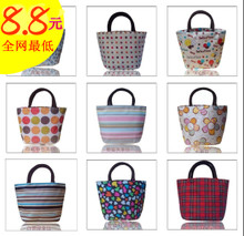Korean version of the influx of small portable canvas bag lunch bag lunch bags Shoulin packet striped oxford cloth bag handbag