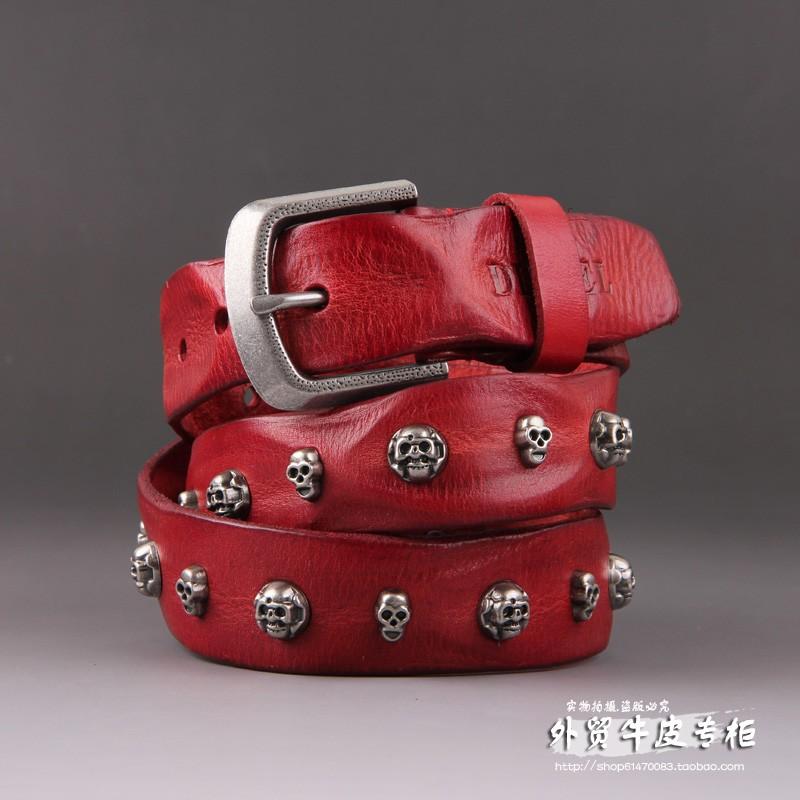 Ремень Disai Корейский ПИН пряжки ремня заклепки пояса кожа моды личности кожа женщин мужчины пояса внешнеторговые потоки