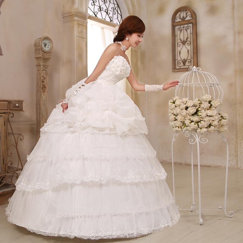 爱唯依韩版婚纱花朵 韩式蝴蝶结新娘婚纱 2013新款甜美公主婚纱