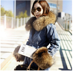 korean style fox fur collar denim coat thick warm plus size raglan sleeve womens jacket