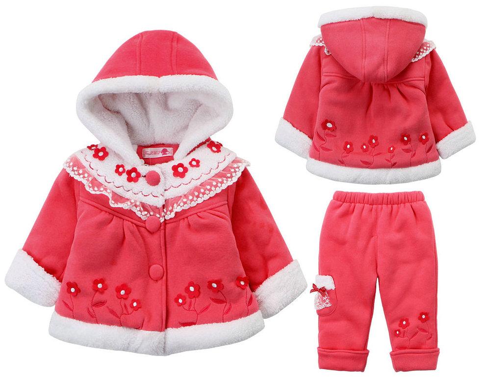 包邮童装女童冬装一岁女宝宝套装冬季加厚婴幼儿棉衣两件套1-2-3
