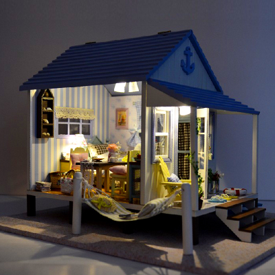 diy handmade cabin coast happy little house building furniture assembled model villa romantic couple dress