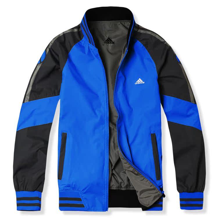 男子春秋阿迪达斯运动服正品牌长袖立领开衫外套adidas透气拼色蓝图片