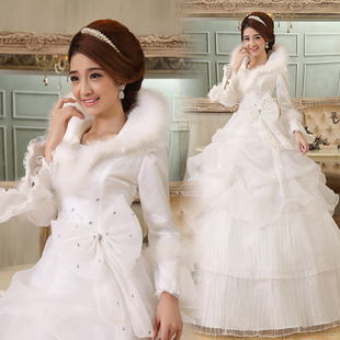 High-quality winter wedding dress winter coats fur collar long sleeves in winter 2013 new thick winter cotton long sleeves wedding dress woman