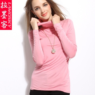 Women's high-necked collar piles modal cotton bottoming shirt tight long-sleeved t-shirt female models big yards Qiuyi bottoming winter clothes