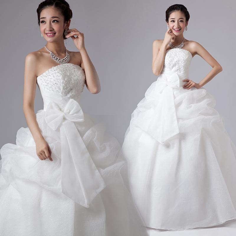 2013新款韩版抹胸齐地婚纱礼服韩版甜美公主蓬蓬裙蝴蝶结婚纱