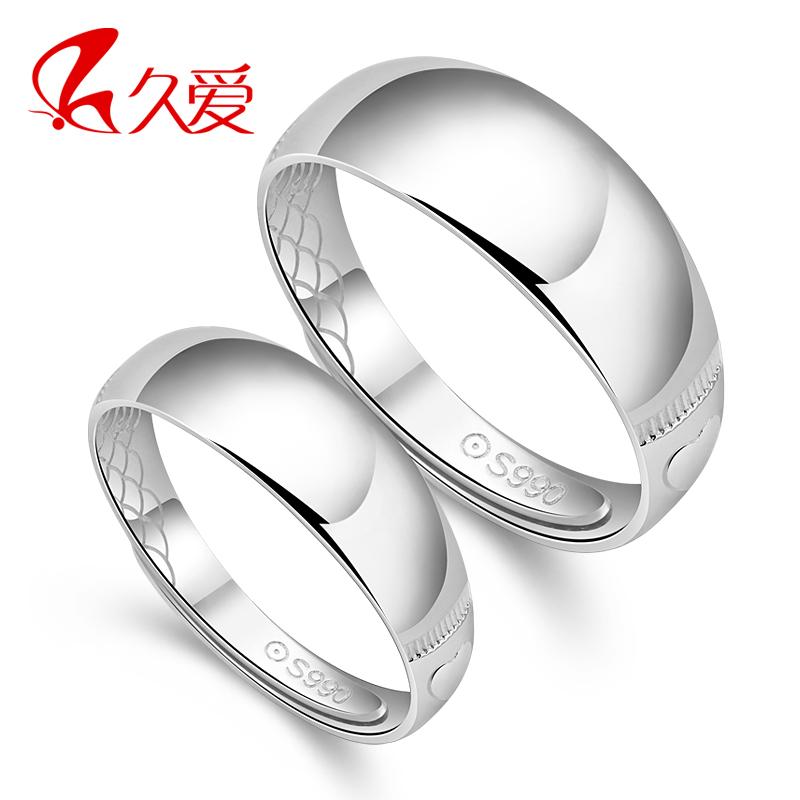 99银光面纯银戒指情侣饰品对戒民族风光面免费刻字纯银情侣指环