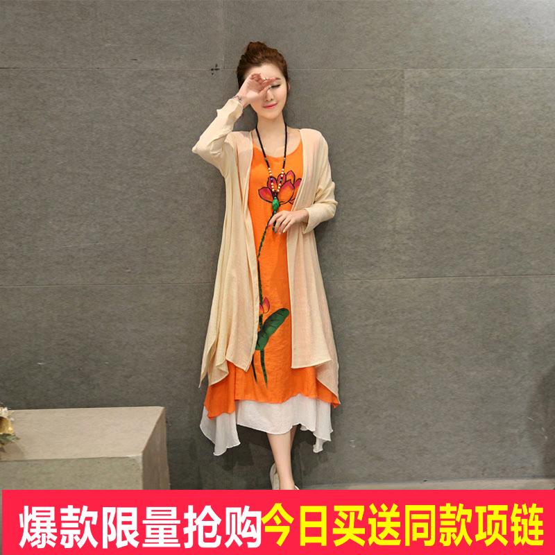 唯品会2016春夏新款大码女装时尚名族风棉麻长袖开衫连衣裙两件套