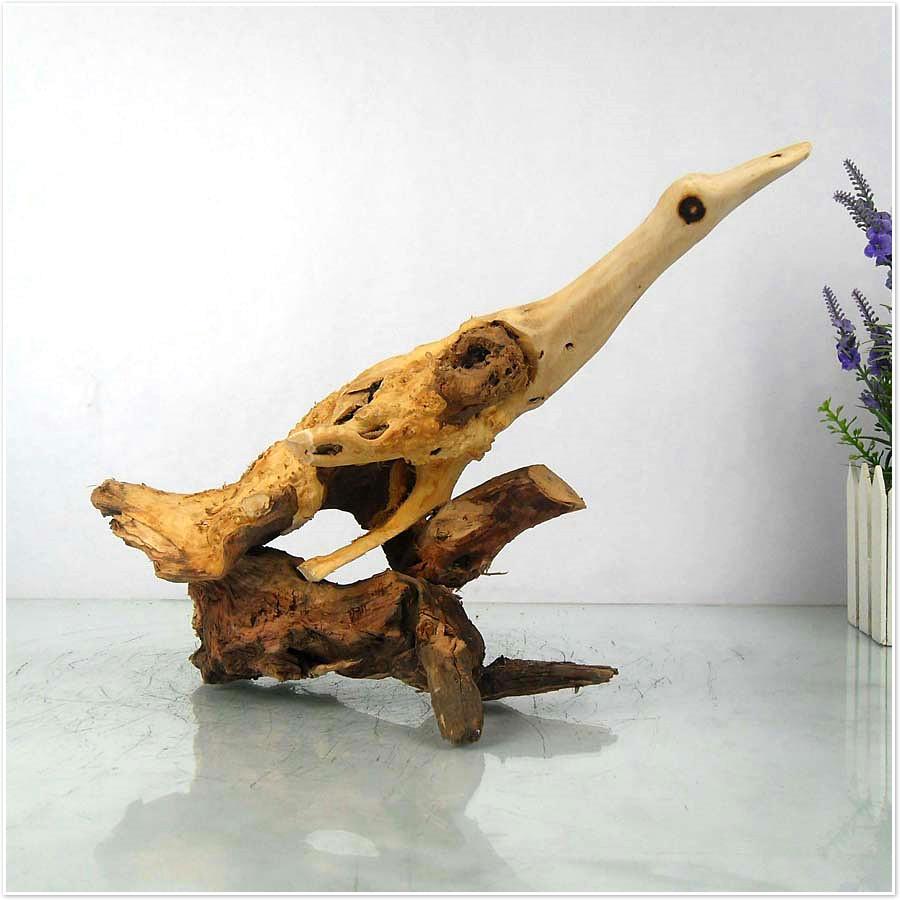 天然根雕 实木工艺品 家居摆设 天然动物天鹅根雕木雕 创意装饰2图片
