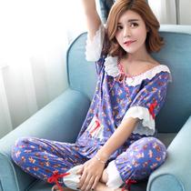 韩版夏季薄款纯棉绵绸睡衣女可爱居家卡通家居服棉绸加肥大码套装