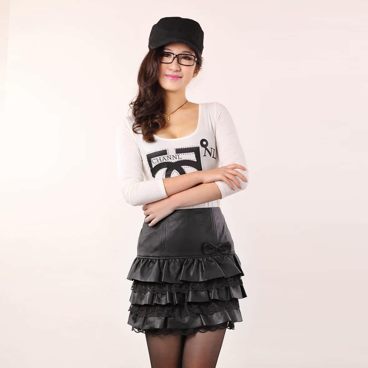 2014新款真皮皮裙绵羊皮半身裙蛋糕裙蕾丝裙子女短裙春春冬季包邮