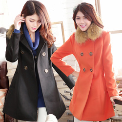 Wool woolen coat fur collar coat