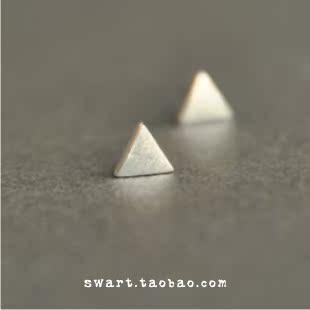 拉丝三角形 925 纯银耳钉