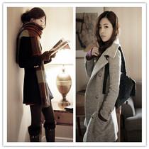 春冬装2013新款韩版时尚毛呢大衣女 显瘦呢子外套 修身加厚呢外套 价格:158.00