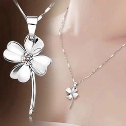 简约气质银饰项链甜美时尚四叶草