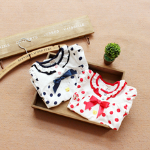 2014 autumn outfit bear paw in style girl lovely bowknot long-sleeved cotton render unlined upper garment of a T-shirt