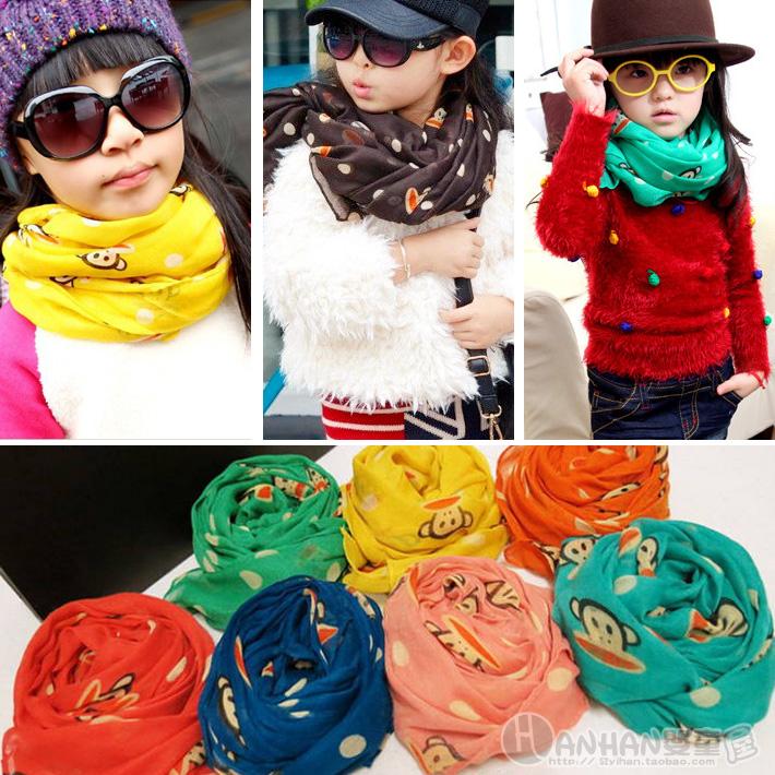 Шарф детский Корейская версия Джокер Paul Frank baby Детская шарфы для мужчин и женщин шарфы зимой шарф тонкий Шелковый шарф 3 мешка почта