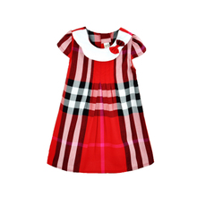 2013 summer new Europe England grid Kids doll skirt girls princess dress children dresses baby dress
