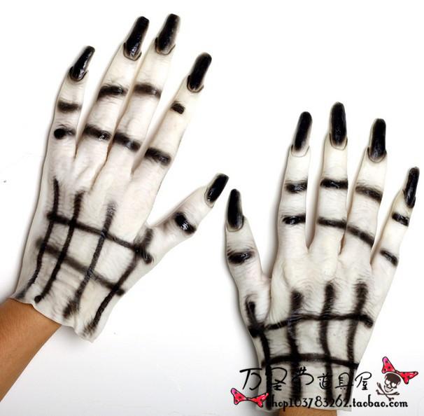 Детские украшения для праздника Призрак Хэллоуин костюмы маскарадные партии поставки одежда Аксессуары Белый призрак перчатки