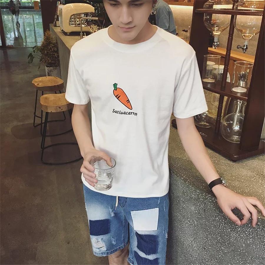 夏季简约百搭个性男装 青少年短袖t恤韩版潮流学