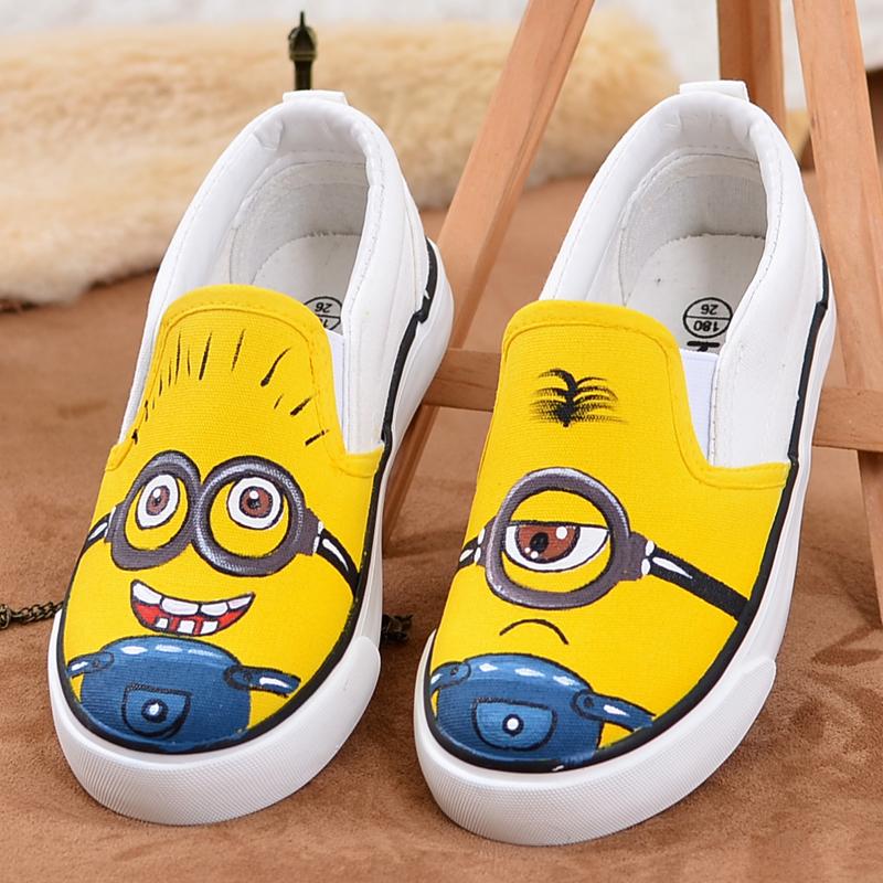 Божественный звон ребенок холст обувь мальчиков и девочек, обувной ребенок обувной корейский обувь ручная роспись обувной одна нога педаль воздухопроницаемый ткань обувная