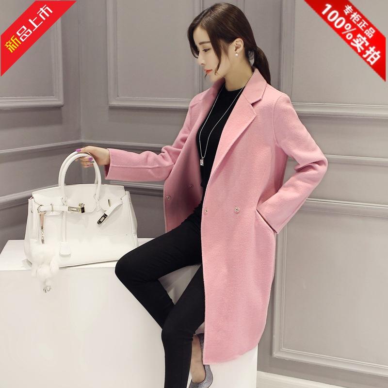 反季促销呢子大衣2017秋冬新款韩版中长款宽松茧型显瘦毛呢外套女