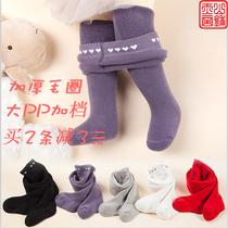 秋冬款婴儿大PP打底裤纯棉毛圈加厚宝宝袜子小女孩纯色弹力连裤袜