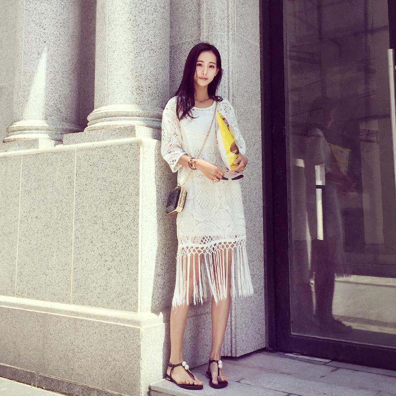 2016夏季新款明星同款流苏裙性感长裙白色蕾丝连衣裙时尚潮中长款