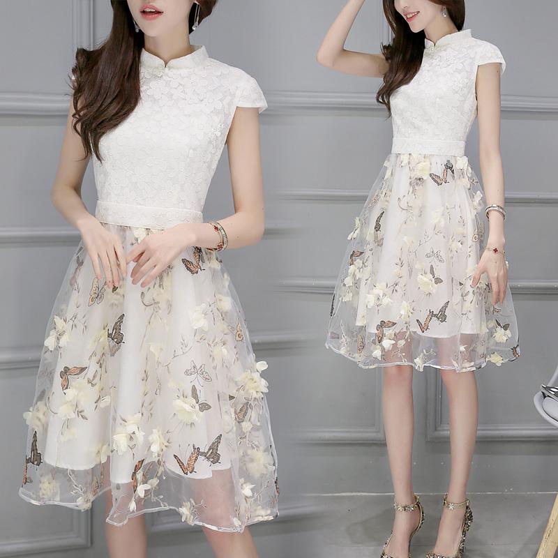 2016新款女装夏季韩版修身高腰连衣裙中长款蕾丝短袖旗袍欧根纱裙