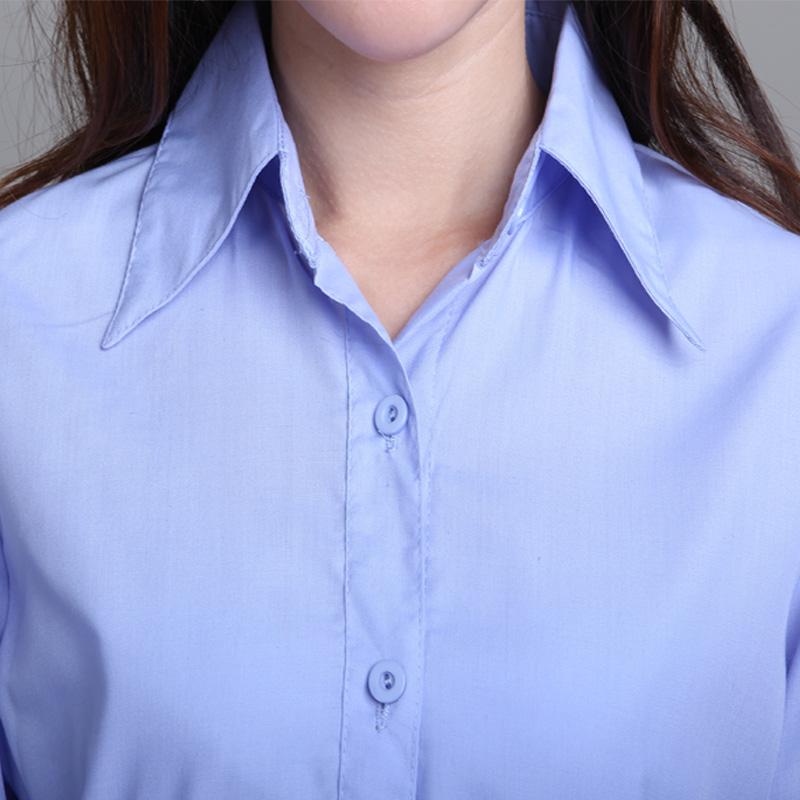 женская рубашка OL Повседневный Длинный рукав Однотонный цвет Отложной воротник Один ряд пуговиц