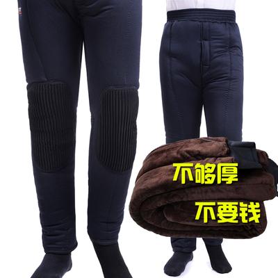 中老年男士加厚棉裤冬季老人保暖褲爸爸三层加绒高腰深档护膝棉裤