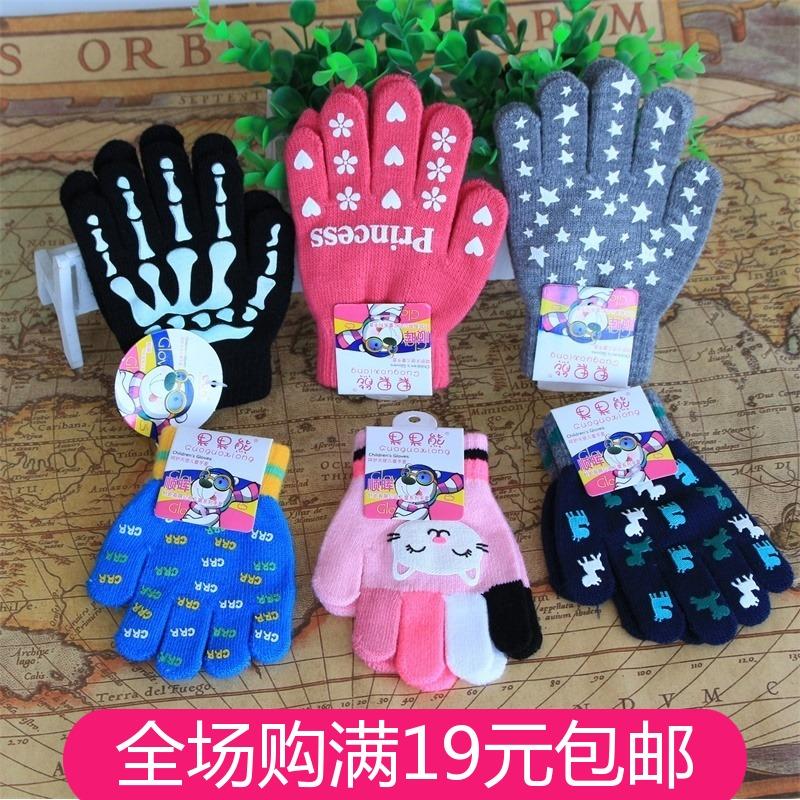 Осенью и зимой дети ребенок ребенок студент перчатки мультики милый уплотнённый сохраняющий тепло пальцы удочка крышка завод оптовая торговля