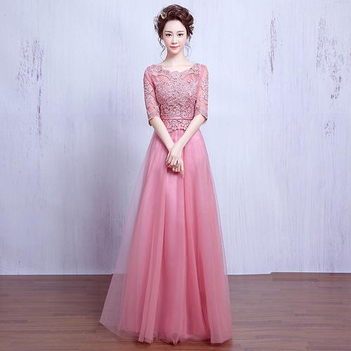新款2018韩式长款中袖一字肩年会主持人女宴会晚礼服粉色合唱服