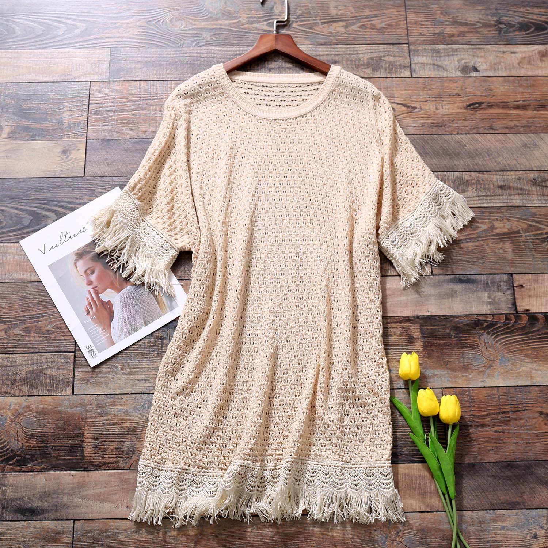 B3镂空针织衫 女秋装新款中袖宽松中长款流苏上衣大码女装7D096