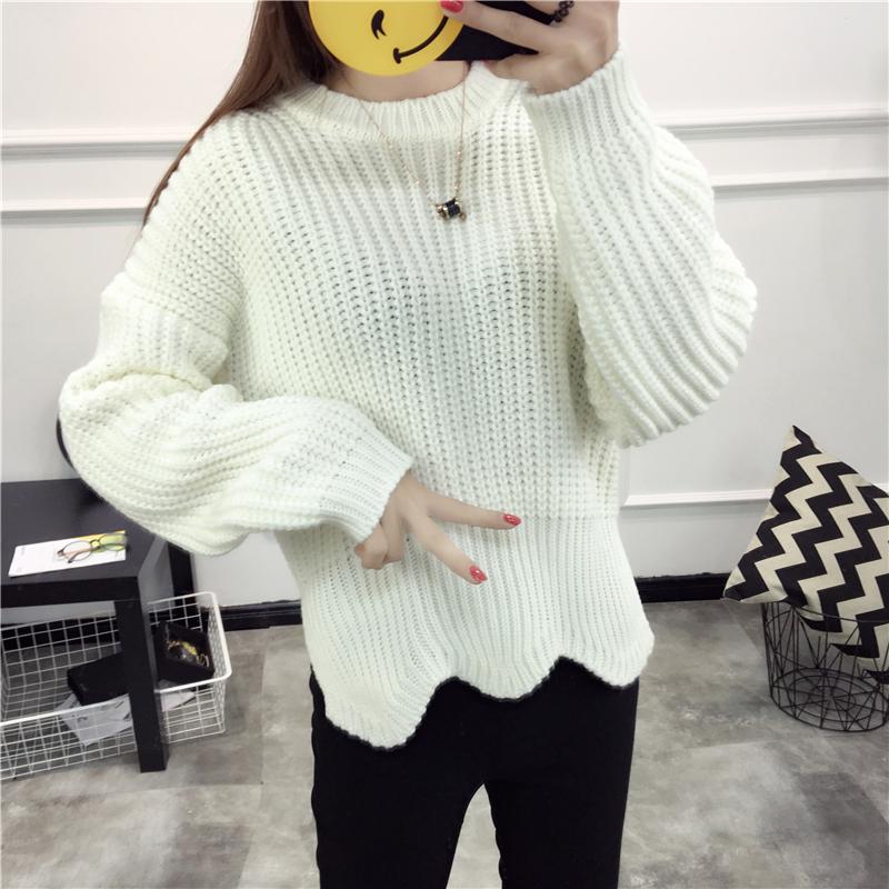 2016秋装新款长袖圆领毛衣女秋冬套头韩版时尚打底百搭针织衫外套