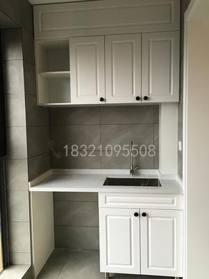 上海阳台柜定制洗衣柜整体橱柜大理石台面304不锈钢水槽一体柜