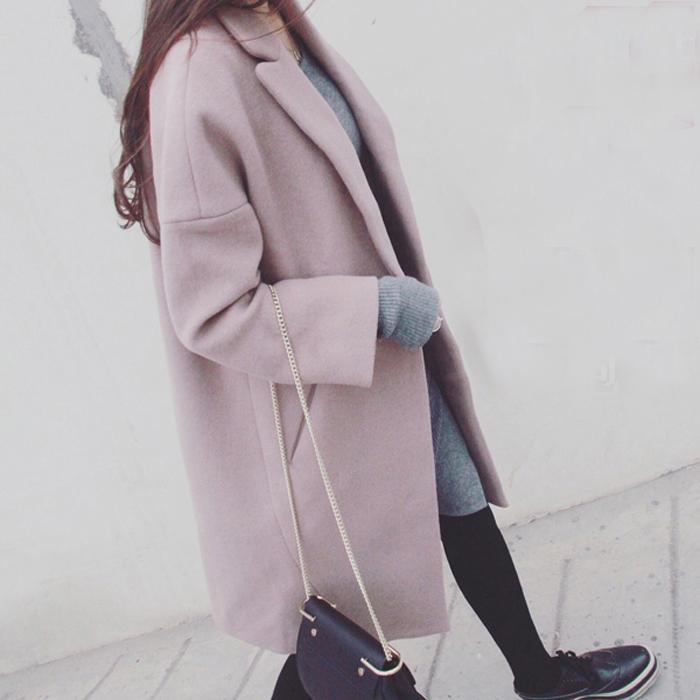 韩版秋冬季呢大衣女长款冬装修身宽松学院风加厚毛呢外套甜美粉色