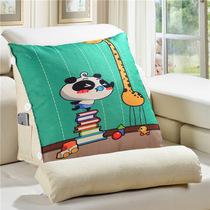 正宗棉麻数码卡通三角带头枕靠垫床上沙发多功能靠背飘窗垫大抱枕
