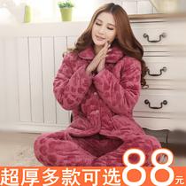 冬季夹棉睡衣女长袖保暖加厚珊瑚绒棉袄三层法兰绒中年家居服套装