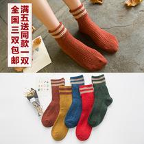 秋冬款女士加绒加厚保暖羊毛袜兔毛线韩国堆堆袜子女 中筒袜秋冬