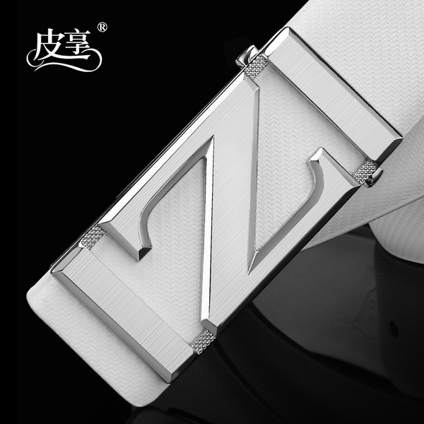 White men's leather belt male Korean version of casual pure leather belt smooth buckle belt tide of young men of letters