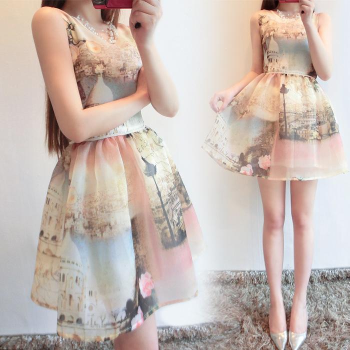2016春夏装新款小香风气质修身无袖印花蓬蓬裙A字欧根纱连衣裙子