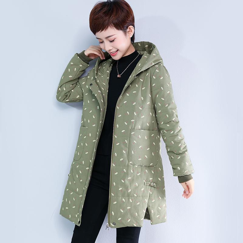妈妈棉衣5XL加厚中长款棉服加肥加大码中老年棉袄冬装外套180斤