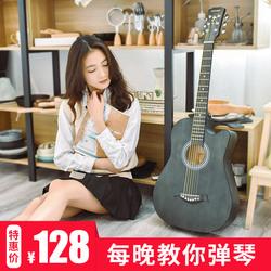 正品复古民谣吉他38寸初学者学生女男新手入门练习木吉它通用乐
