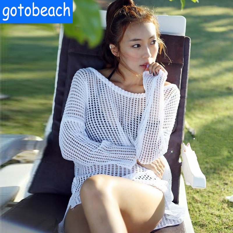 Long-sleeved blouse seaside resort sexy bikini swimsuit shirt jacket hollow sun protection clothing female beach outside the ride gowns