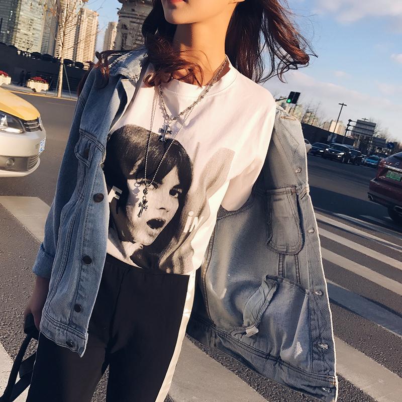 白色半截袖短袖t恤女宽松印花韩版潮学生原宿风百搭bf风个性上衣
